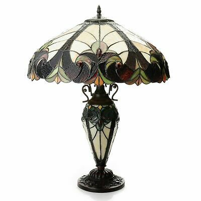 Tiffany-Style 24.5in Halston Double Lit Stained Glass Table Lamp - Ivory