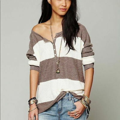 a9569f436f Free People Beach Gold Rush Top Sz XS Wide Stripe Oversized Brown Cream EUC  A3