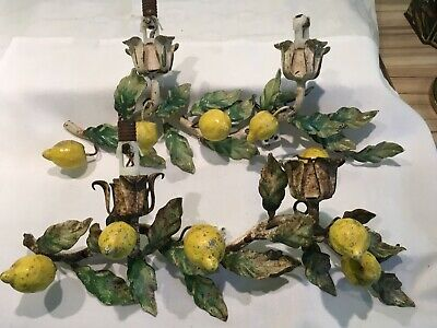 Pair Of Antique Vintage Tole Ware Painted Lemon Themed Italian Wall Lights