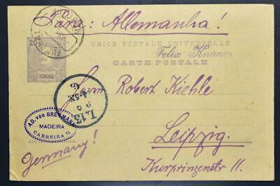 Portugal Island MADEIRA 1906 Scarce PSC/Card FUNCHAL to Germany LOOK , Spain