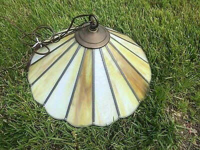 Vintage Tiffany Style Stained Glass Leaded Slag Glass Hanging Light Lamp