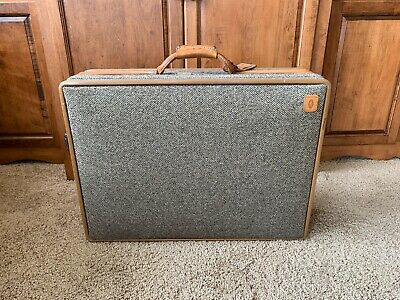 Vintage Hartmann Tweed Luggage Suitcase w/ Leather Belting & TAG - Toile Lining