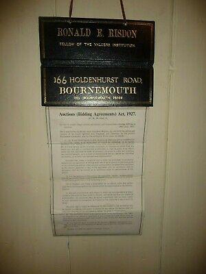 Antique Risdon Auctions ( Bidding Agreements ) Act 1927 wall hanger in VGC  (P