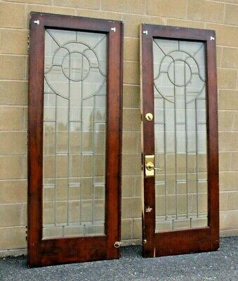 Pair of Antique Wooden Double Doors w/Leaded Beveled Glass