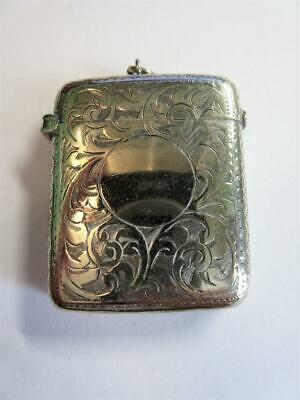 ANTIQUE EDWARDIAN SILVER PLATED VESTA CASE, MATCH SAFE - Engraved Scrolls!