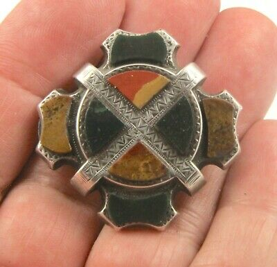 Antique Victorian 1890 sterling silver Scottish agate pebble brooch pin