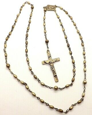 Antique Sterling Silver Rosary Beads And Crucifix By Creed ~19.09 Grams~