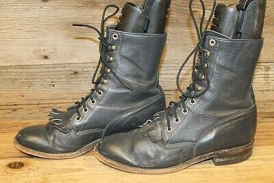 99ae2b3dbe885 AD-TEC MENS BLACK/RED Lace Up Leather Roper/Cowboy Boots Sz 12 M ...