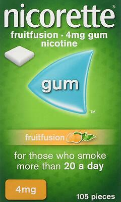 NEW Nicorette Fruitfusion Chewing Gum 4mg 105 Pieces (Stop Smoking Aid)