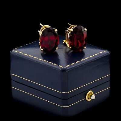Antique Vintage Art Deco Retro 14k Yellow Gold 12.54 Ct Bohemian Garnet Earrings