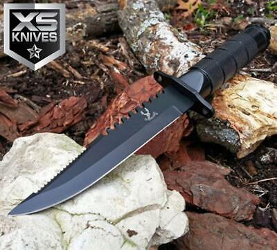 """8.5"""" JTEC SURVIVAL Bowie Tactical Fixed Blade Hunting Knife w/ SURVIVOR KIT"""