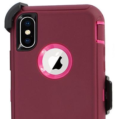 Genuine Otterbox Defender Case With Belt Clip For Apple iPhone XR Purple Pink