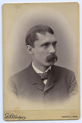 Cabinet Card of Man with Big Mustache and polka-dot tie, Haverhill, Mass