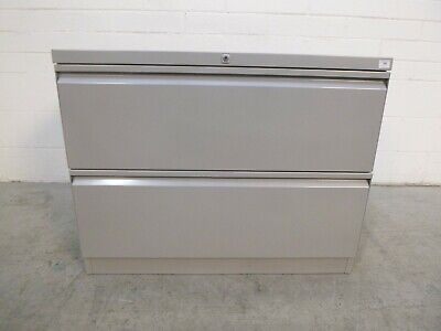Office/Home/Garage Lateral Filing Cabinet Cabinet 2 Drawer Grey Metal 38596