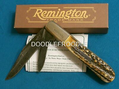 Rare Mib '09 Remington Usa Rb1242-D Stag Damascus Granddaddy Master Barlow Knife
