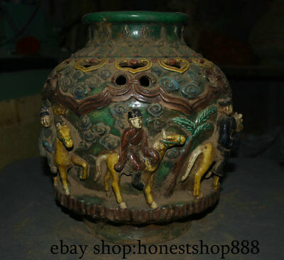 """12.8"""" Old Chinese Tang sancai Ceramics Dynasty People Ride Horse Hollow Bottle"""