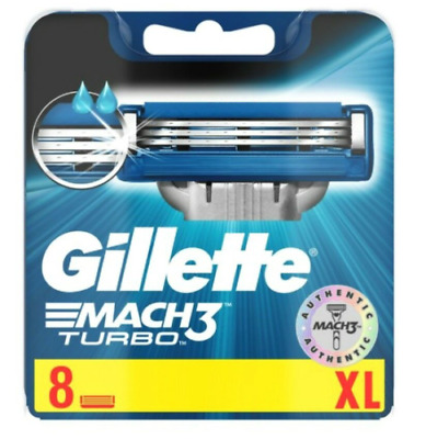 Gillette Mach 3 Turbo 8 Pack Of Blades. New Sealed Genuine + Free P&P.