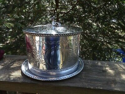 Antique Pgs Germany Silverplate Lidded Bun Biscuit Warmer W/Dog Adornment
