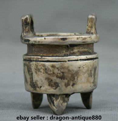 "2"" Marked Old Chinese Silver Dynasty Palace Handle Ding Incense Burner Censer"