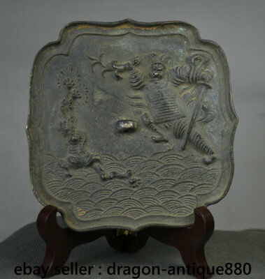 """5"""" Old Chinese Bronze Ware Dynasty People Immortal God Square Mirror Mirrors"""
