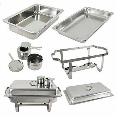 6 Pack Catering Stainless Steel 8QT Full Size Buffet Stoves Food Hot-Hold Silver