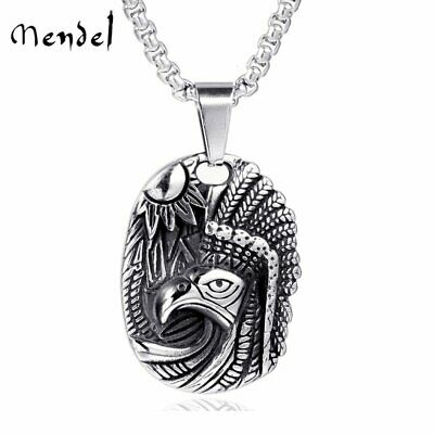 MENDEL Native American Indian Eagle Pendant Necklace Men Stainless Steel Jewelry