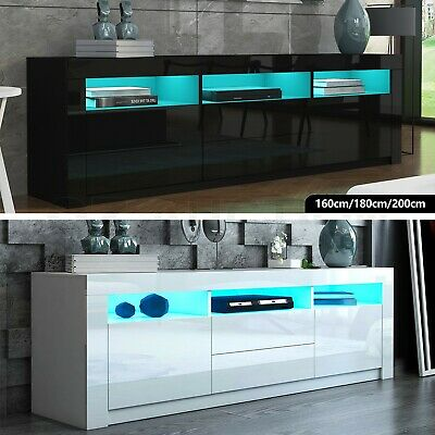 RGB LED Modern TV Stand Cabinet Wooden Entertainment Unit Storage Black/White AU