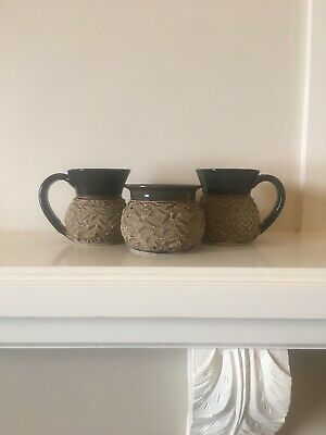 Grant Lehmann Pottery Cups And Sugar Bowl