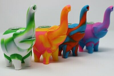 """4"""" Elephant Silicon Bubbler/Bong Smoking Water Pipe Assorted Colors W/Glass bowl"""