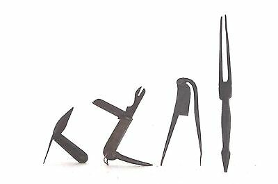 4 Pc Iron Knife & Hair Pin & Nut Cutter Old Vintage Antique Collectible P-30