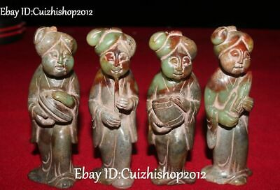 Unique Natural Hetian Old Jade Dynasty Belle Beauty Girl Play Music Statue Set