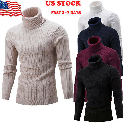 US Mens Thermal High Collar Turtleneck Long Sleeve Pullover Sweater Shirt Winter
