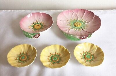 Vintage Art Deco Carlton Ware Australian 3 Yellow & 2 Pink Buttercup Dishes
