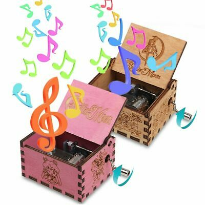 Retro Wooden Music Box Hand Crank Engraved Musical Handmade Case Toys Kids Gifts