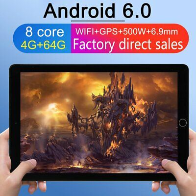 """10.1"""" TABLET PC Android 6.0 Telecamera 2.0GHz WIFI HD bluetooth 4G+64GB nero PC"""