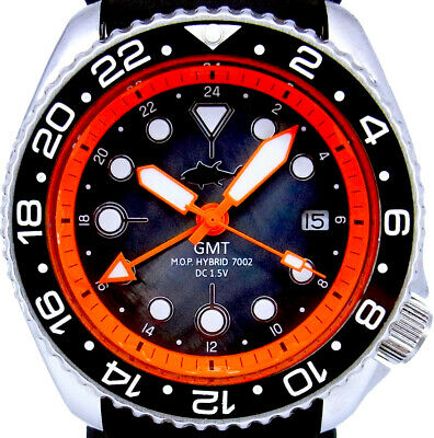Vintage Mens SEIKO Diver 7002 Mod GMT Dual-Time SWISS movt -Mother of Pearl Dial