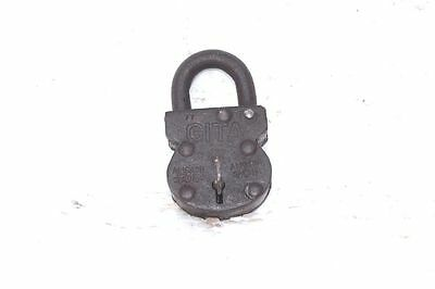 Lock and Key 1900s Old Vintage Antique Rare Iron Brass Collectible PB-45
