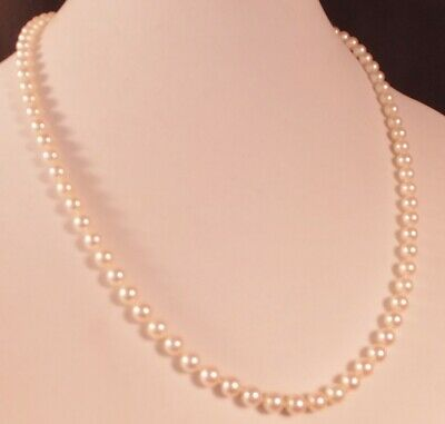 61b44f191f3e5 VINTAGE MIKIMOTO STERLING Clasp Akoya Cultured Pearl 6 mm Necklace 22