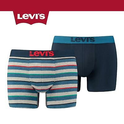 Levis 200SF 2 Pack Rugby Stripe Boxer Shorts Dark Blue Combo