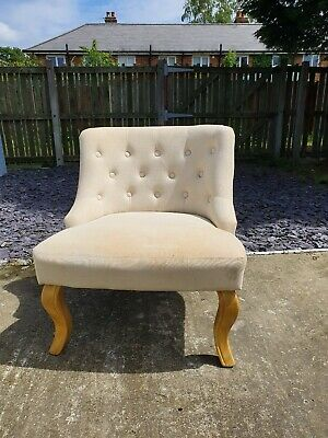 Vintage Cream Button Back Chair Bedroom Dressing Room Upcycle Project