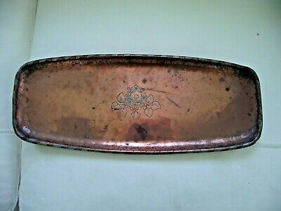 Antique Hugh Wallis Arts & Crafts Hand Made Hammered Large Solid Copper Tray