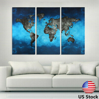 3Pcs Modern Canvas World Map Art Wall Painting Hang Home Prints Decor Picture