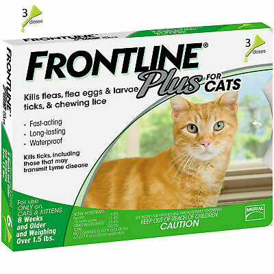 Frontline Plus For Cats 3 Doses / 3 Month Supply Flea & Tick Remedy Genuine New