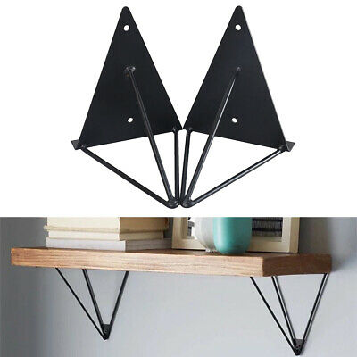 2pc Hairpin Industrial Wall Shelf Support Bracket Metal Prism Mount Easy install