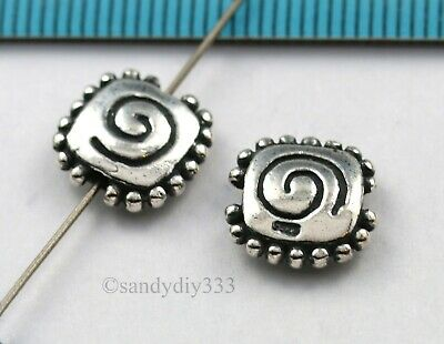 1x OXIDIZED STERLING SILVER SQUARE SWIRL SPACER BEAD 10.9mm #1464