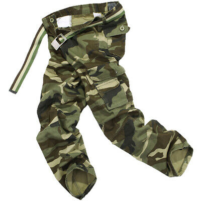 Mens Work Baggy Military Combat Camouflage Pants Pure Cotton Camo Cargo Trousers