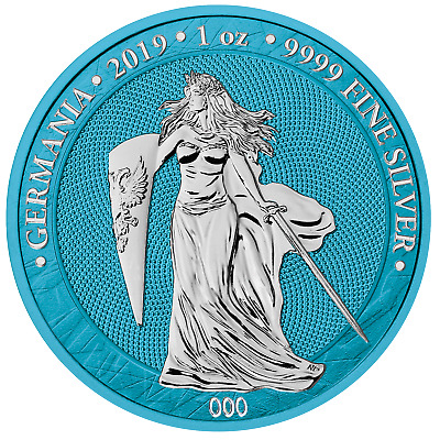 5 Mark Space Blue Germania 1 Unze oz Silber Silver BU 2019