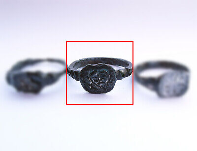 Ancient Viking bronze ring with Runic engraving