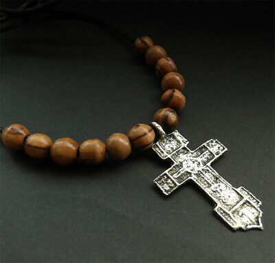 POST MEDIEVAL BRONZE CROSS PENDANT with beads from Bethleham - wearable