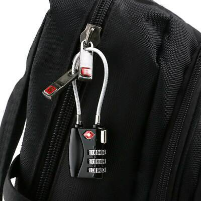 TINKSKY Portable TSA Approved Black Cable Luggage Lock 3-Digit Combination